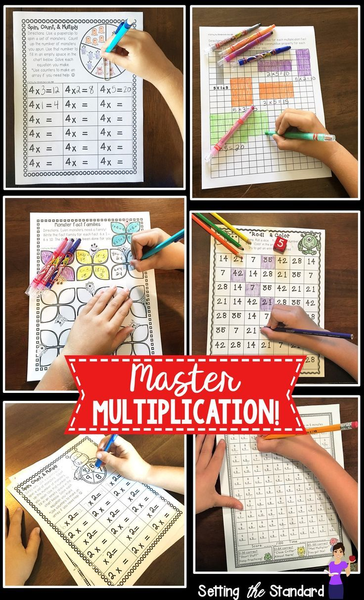 Help your students master the multiplication facts of 2-10.  Includes multiplication worksheets, multiplication games, and multiplication activities.  Students will work on arrays, number bonds, commutative order, multiplication timed tests, & more!