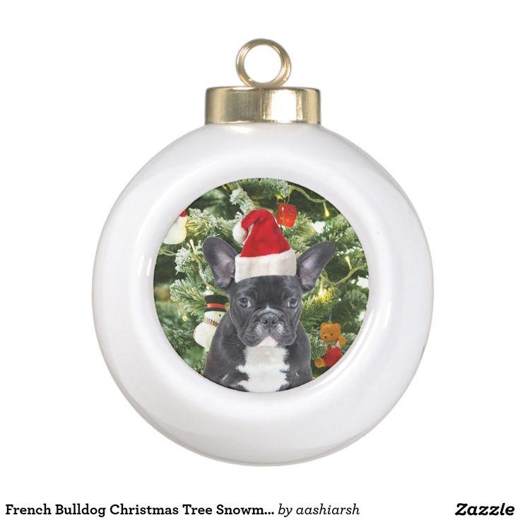 #FrenchBulldog Christmas Tree #Snowman Ceramic Ball #Christmas #Ornament #frenchie
