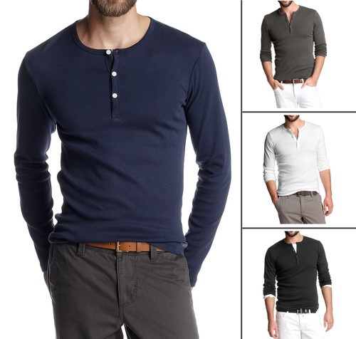 Long sleeve men's henley. I especially like the white and charcoal ones.