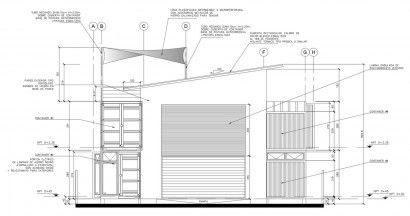 Plano de fachada principal de casa contenedor | Construye Hogar