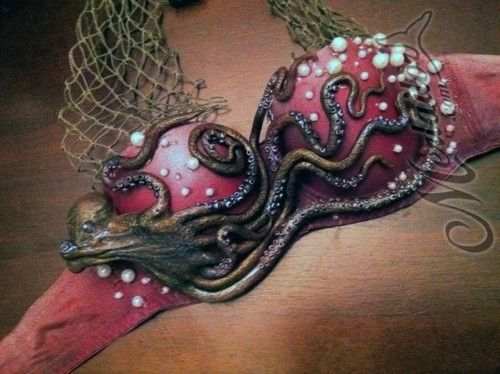 Red ombre Mermaid bra top with pearls, net, & octopus tentacle details