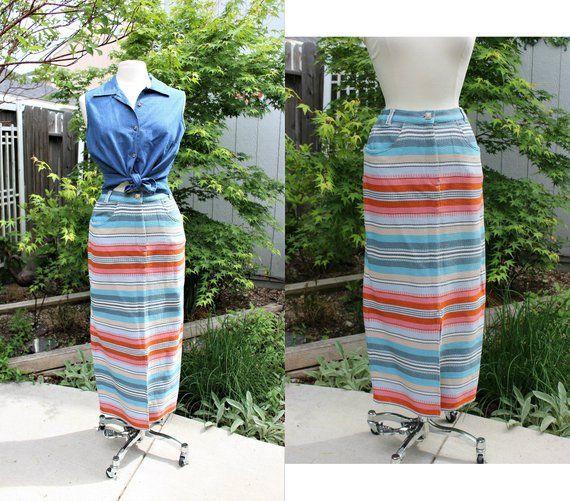 1990s Southwestern Print Skirt  Vintage Striped Skirt XS
