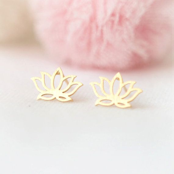 Lotus Earrings in gold by laonato on Etsy, $15.00
