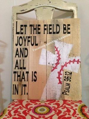 Let the field be joyful Baseball cross by margery