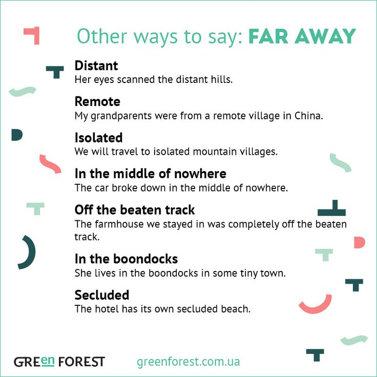 Synonyms to the phrase FAR AWAY. Other ways to say FAR AWAY. Синонимы к английскому слову FAR AWAY.