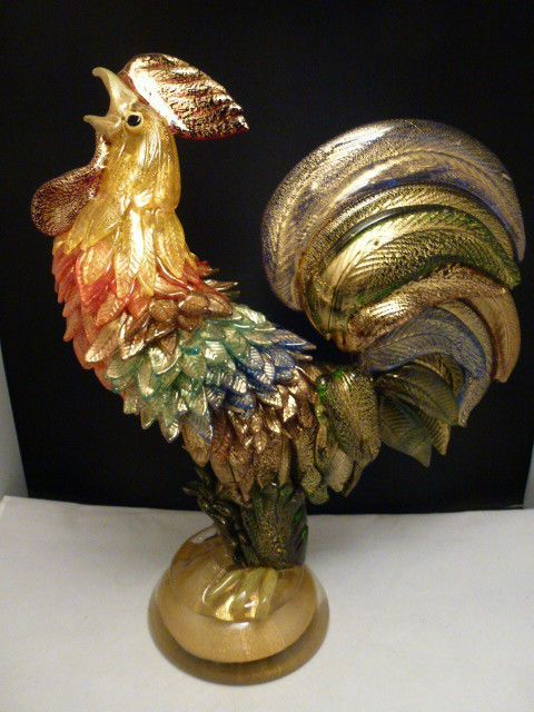 Large Murano Art Glass  Formia  Colorful Rooster GOLD FLECK MAGNIFICENT 14.5""