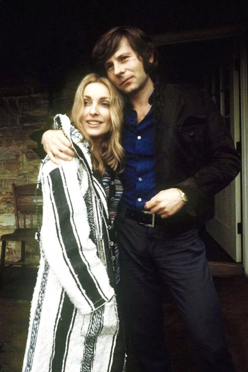 Sharon Tate and Roman Polanski outside their home on Cielo Drive, 1969. This is the same coat Sharon was wearing in the home video made at Jay's house
