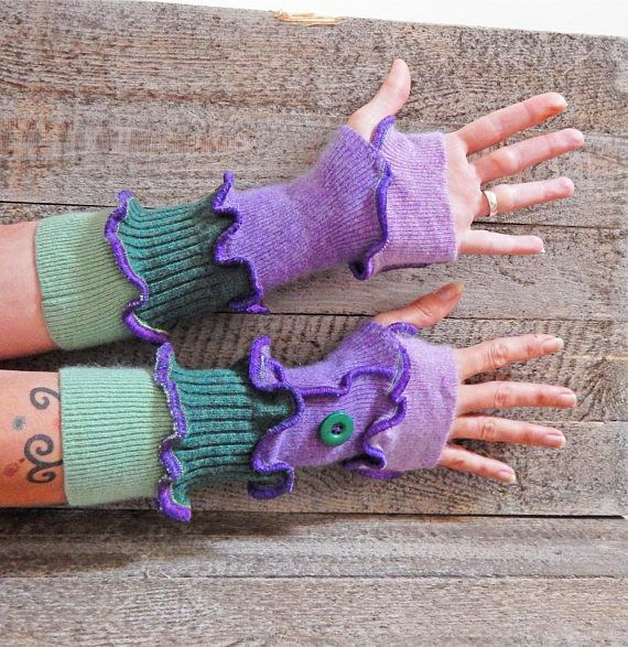 Green Purple Gloves Cashmere Arm Warmers Lambswool Gloves