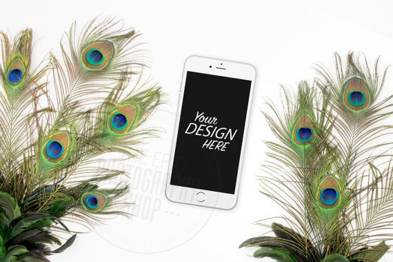 Styled Smart Phone Background / Stock Photography / Website / Web Design / Mobile / Smart Phone / iphone / Peacock / T001