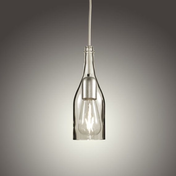 Clear Champagne Bottle Pendant Light with LED Edison Bulb (Hard Wired)