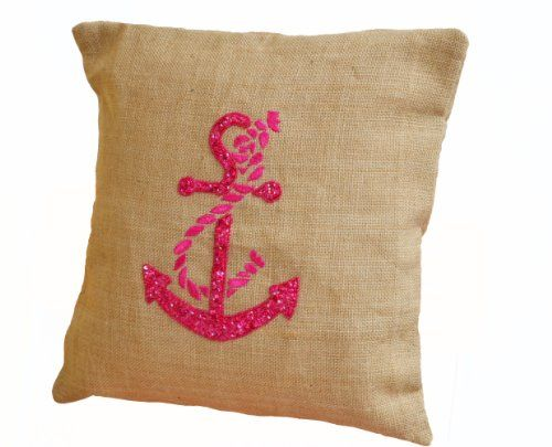 Burlap pillows- Throw pillow covers with Hot Pink anchor embroidery- Nautical pillow covers- Anchor pillows- Embroidered pillows- Beach décor pillow covers Amore Beaute http://smile.amazon.com/dp/B00E6KGTZU/ref=cm_sw_r_pi_dp_loD3vb1TS2ZKY