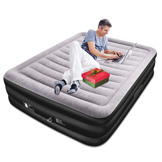 Spreey Air Mattress Air Bed Built In Electric Pump Queen Inflatable Mattress Bed Soft Flocking Layer Comfortable W Mattress Air Mattress Inflatable Mattress
