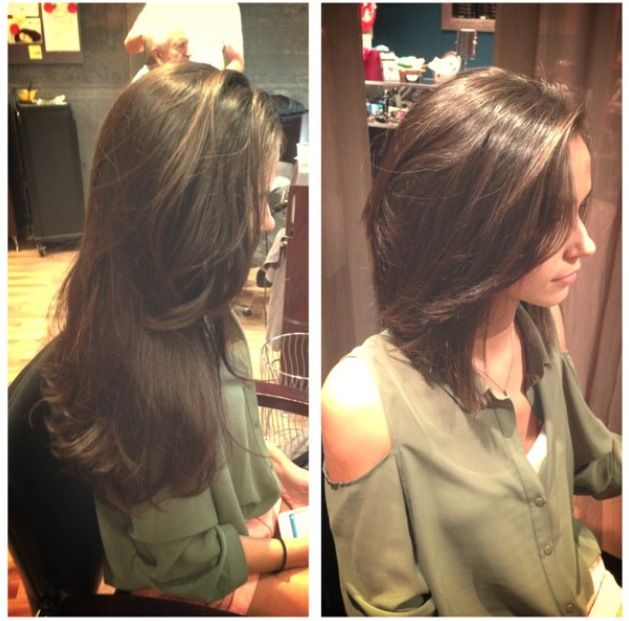 Before and after! Chopped! Long hair to short hair! Diagonal forward haircut