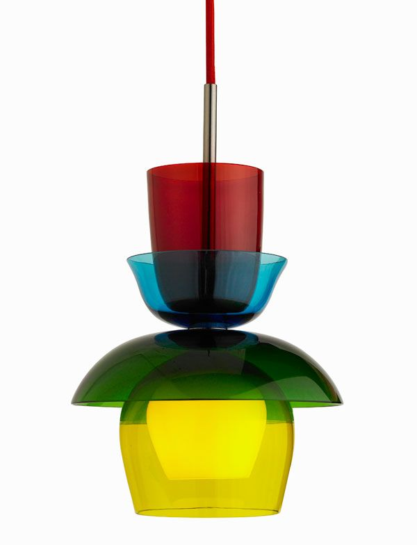 Cascade pendant series, a colourful configuration of mouth-blown Venetian glass by Oggetti