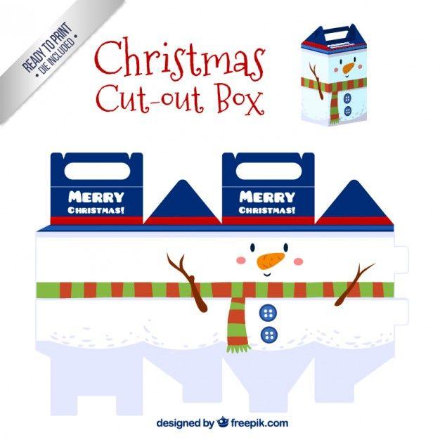 Christmas snowman box I Free Vector