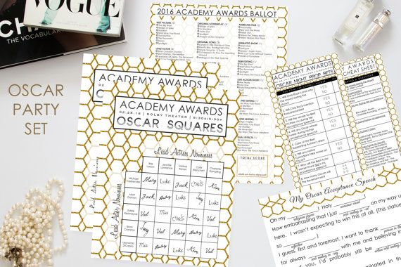Oscar Party Set 2016 // Instant Download // 4 Unique Games:  Ballot, Prop Bets, Acceptance Speech, Betting Pool Squares / Academy Awards