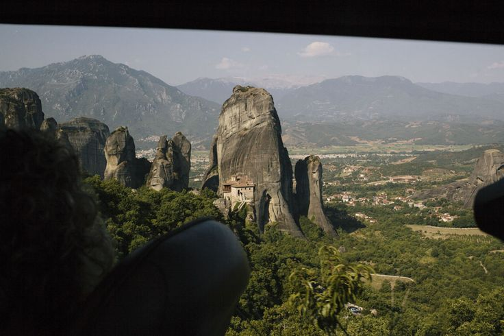 meteora monasteries through the bus window