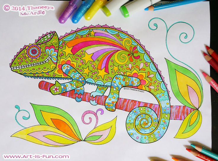 Groovy Animals Coloring Pages Free : Colorful chameleon from thaneeya mcardle s e book of