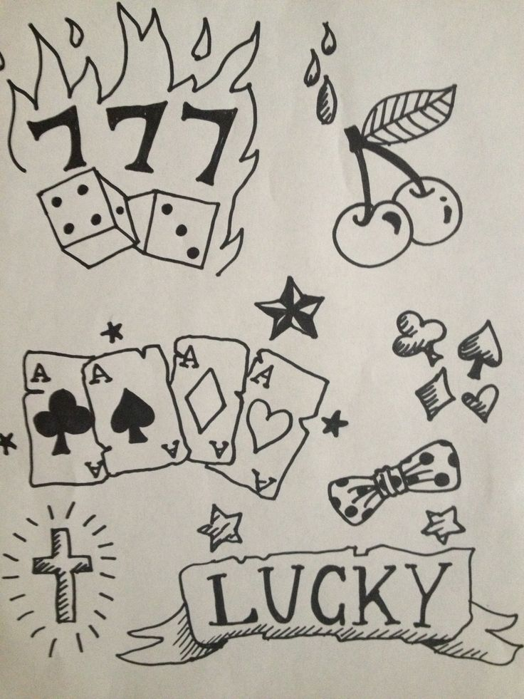 lucky 7 39 s rockabilly tattoo idea for henna gigs commercial art by rozine pinterest. Black Bedroom Furniture Sets. Home Design Ideas