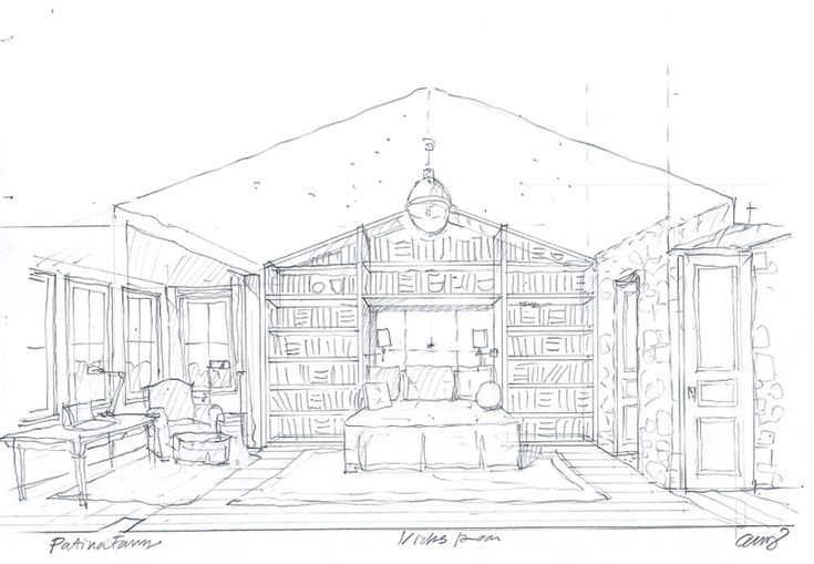 I like Brooke Giannetti's concept for a library bedroom