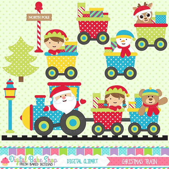 christmas clipart train clip art santa - Christmas Train Clipart $5