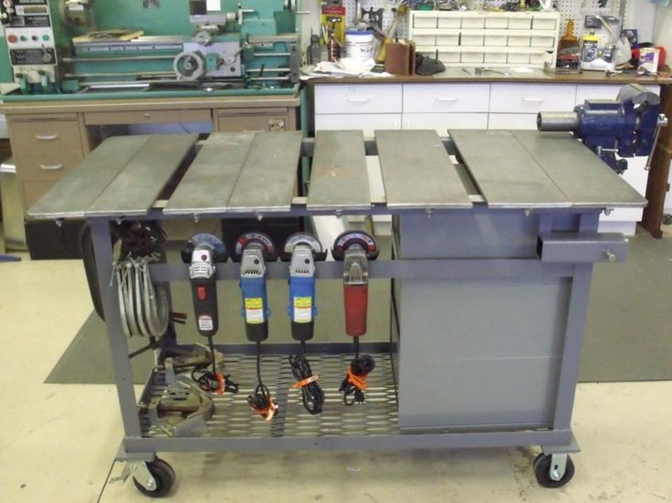 welding shop layout ideas | The square tubes is a good idea to mount vises, grinders or small ...