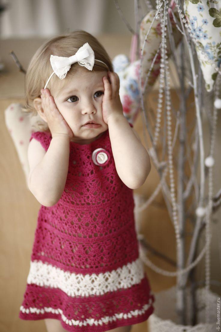 Crocheted dress for girl / Платье для девочки вязаное крючком Розовые пионы - детская одежда, детское платье