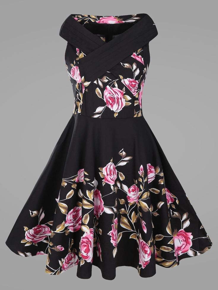 Criss Cross Plus Size Floral Retro Pin Up Dress - BLACK 5XL