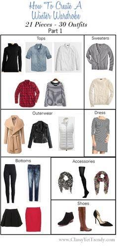 Winter wardrobe - 21 pieces and 30 outfits, part 1, Pieces