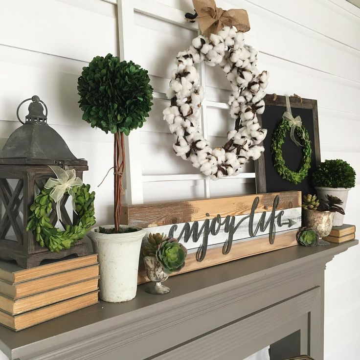 So many Wednesday hashtags, so little time  Another view of the new mantel... Super excited to doll her up for Fall soon! Have a great day  {Decor, wreaths, and faux succulents are all available in the shop-link in profile}
