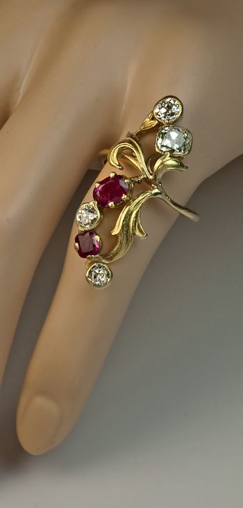 Russian art nouveaux | Art Nouveau Ruby Diamond Antique Russian Ring from romanovrussia on ...