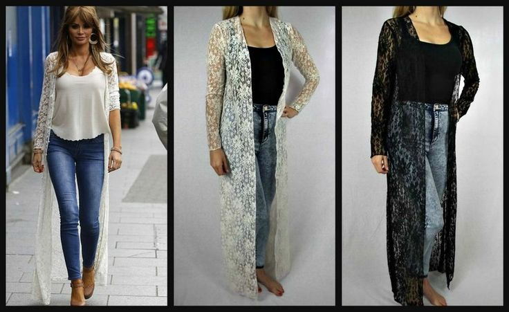 Ladies Beige Cream Lace Crochet Long Kimono Cardigan Kaftan ...
