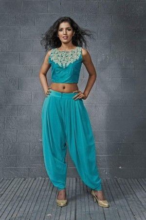Emerald studio gota work crop top with dhoti pants