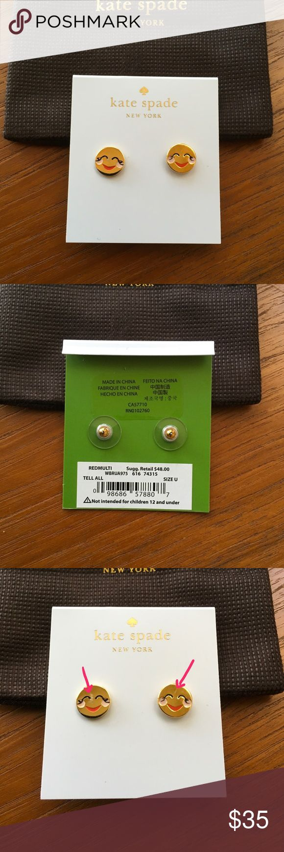 """Kate Spade 'Tell All' Emoji Stud Earrings 3/8"""" diameter. 14k-gold plate/enamel/glass. Both have some slight imperfections (see last photo). No longer available/sold out. kate spade Jewelry Earrings"""