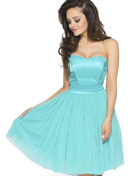 Koktajlowa sukienka z tiulu na wesele Km114-1 turkus Kartes-Moda