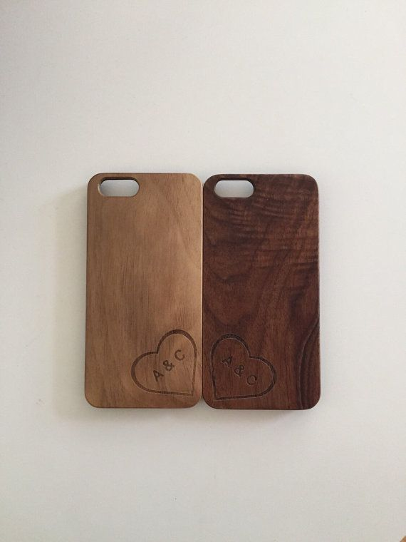 iPhone Wood Case Couples Heart Initials Monogram Engraved by axMen