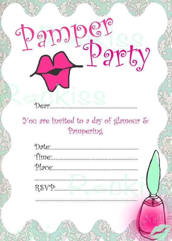 Pamper Party Invitation- Pamper kisses -INSTANT DOWNLOAD digital file ready for printingwww.etsy.com/shop/prettypartypaperink www.facebook.com/pretty.party.paper.ink