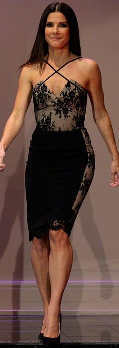 Stunning Black lace dress on my favorite funny lady: Sandra Bullock