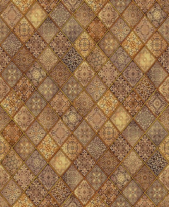 Mosiac Fabric - Heavenly Filigree Patch - Dan Morris for Quilting Treasures - 24574 A Brown - Priced by the Half Yard