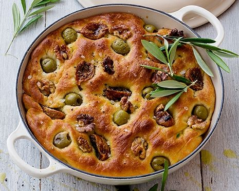 Italian olive and sundried tomato focaccia in a cast iron braiser / casserole.