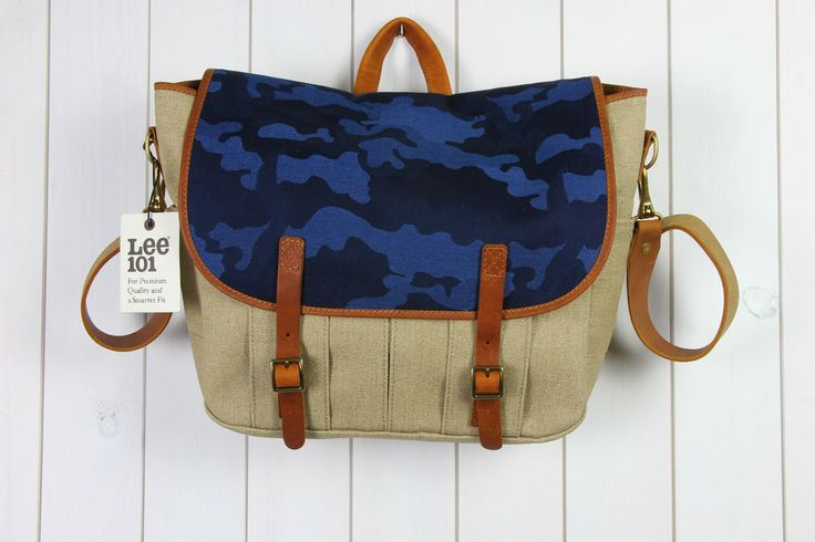 NEW LEE 101 HEAVY DUTY WAXED NAVY BAG MORO MESSENGER Shoulder 20% LEATHER