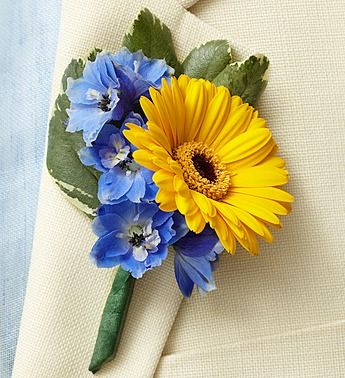 Country #Wedding Charm Boutonniere- mini #boutonniere arrangement of either yellow mini Gerbera daisy, blue delphinium and variegated pittosporum, or blue delphinium and variegated pittosporum $15.00