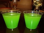 Incredible Hulk! Hpnotiq, Hennessy, pineapple juice, sour apple schnapps and melon syrup.