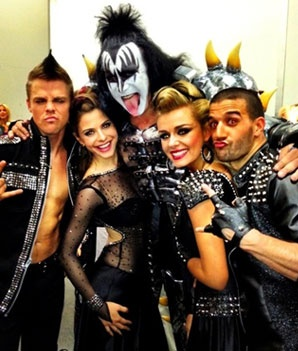 DWTS Rock Week: Derek Hough, Maria Menounos, Katherine Jenkins, & Mark Ballas looking good—with Kiss!
