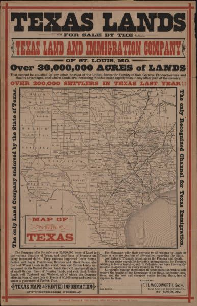 Texas lands for sale by Texas Land and Immigration Company. Advertisement depicting Texas lands for sale between 1900-1920. Special Collections, University of Houston (Public Library).