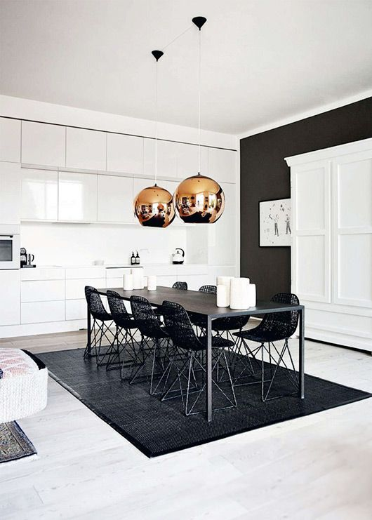 One Black Wall is enough to provide edge. The Black chairs Are a welcomed addition to the chair selection, novelties to me. Would have Loved to See the Rest of the Picture, because This is Lovely.
