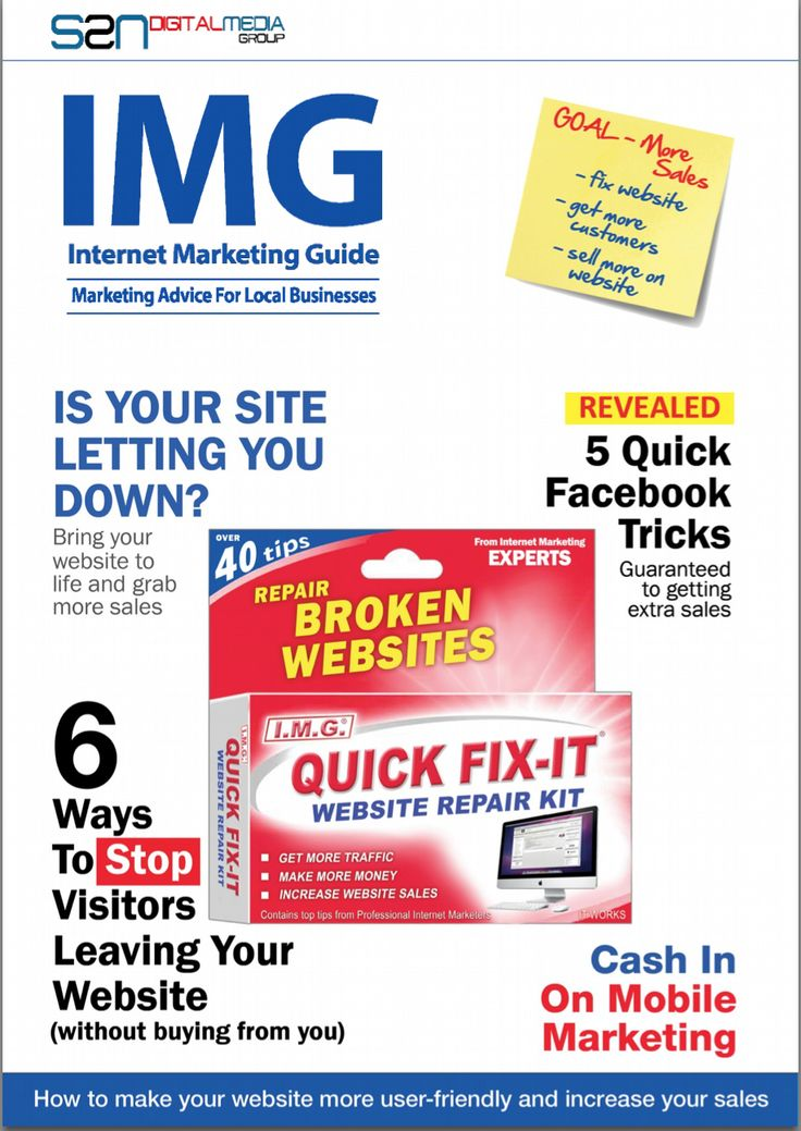 New Issue Of Internet Marketing Guide Out Now..  Marketing Advice for Local Businesses  * Quick Fixes to Transform Your Website Sales from Famine to Feast  * Why Facebook is Not Working for Your Business * Now is the Time to Cash in on Mobile Marketing * How You can Avoid Chaing Customers of Your Website  http://s2nsocialmedia.com