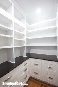 Kitchen Pantry with White Cabinets : Open Shelves : Dark Counters :: Kitchens :: Pantry