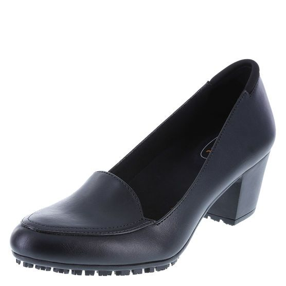step up your work shoe with the brittany heel from safetstep it features a faux - Safetstep