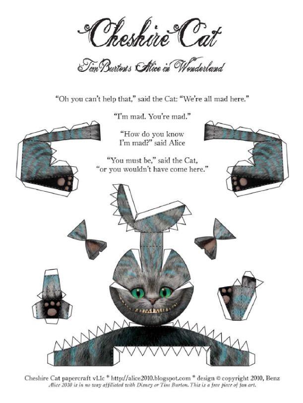 Ce papertoy à l'effigie du chat du Cheshire a été conçu et publié par Alice2010, un site entièrement consacré à l'univers et aux produits dérivés du comte Alice aux pays des merveilles. Le chat tigré étant le personnage préféré du…